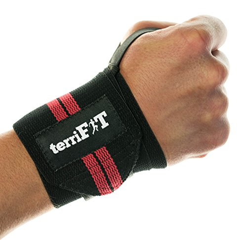 Wrist Wraps by terriFIT - Weight Lifting Wrist Wraps With Thumb Loop - 18' Long | Crossfit, Weightlifting, Strenght PR, Bench Press, Weight Training | Wrist Support For Men And Women
