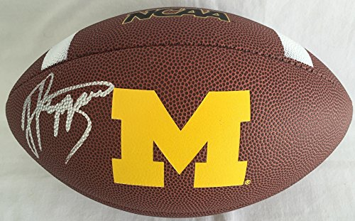 - Jabrill Peppers Signed / Autographed Michigan Wolverines Logo Football - JSA Certified