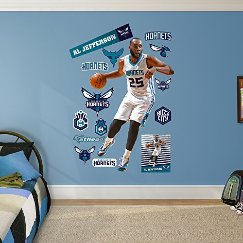 NBA Charlotte Hornets Al Jefferson Fathead Real Big Decals, 49''W x 75''H by Fathead Peel and Stick Decals