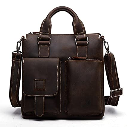 76caf9628475 Image Unavailable. Image not available for. Color  Retro Crazy Horse  Leather Laptop Messenger Bag Office Briefcase College ...