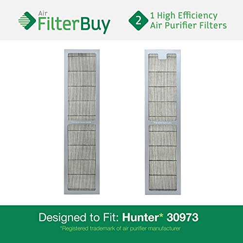 2 - Hunter 30973 Air Purifier Replacement Filter. Designed by FilterBuy to fit Hunter Models 30890 & 30895.