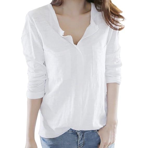 keepwin-blusa Venta Caliente! Camisas Mujer, 2018 Nuevo Blusas de Bolsillo para Mujer