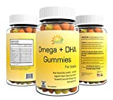 Best Omega 3-6-9 & DHA Gummies By Nutria-Super Potency Dietary Supplement For Adults- (550mg) Fish Free, Plant Based Chia Seed Oil-60 Count Heart, Brain, and Immune Support-Orange & Lemon Flavor