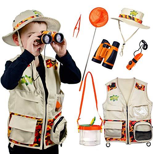 Safari Kidz - Complete Outdoor Adventure Set. Perfect Safari, Hunting, Park Ranger Costume with Vest, Hat, Binoculars, Bug Net, Bug Container, Whistle, Flashlight, Magnifying Glass, Tweezers