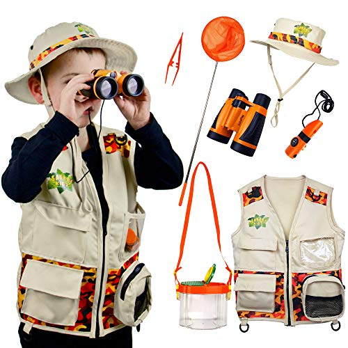 Safari Kidz - Complete Outdoor Adventure Set. Perfect Safari, Hunting, Park Ranger Costume with Vest, Hat, Binoculars, Bug Net, Bug Container, Whistle, Flashlight, Magnifying Glass, Tweezers]()