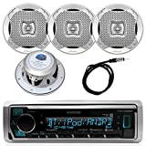 Kenwood InDash Marine Boat Bluetooth Digital USB AUX AM/FM Radio Stereo Player with 4X Lanzar 400 Watt 6.5' Silver Audio Speakers and Enrock 45' Radio Antenna -Complete Marine Audio Package