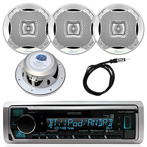 Kenwood InDash Marine Boat Bluetooth Digital USB AUX AM/FM Radio Stereo Player with 4X Lanzar 400 Watt 6.5