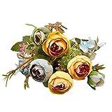 Artificial Flowers,Longay 1 Bouquet Vintage Artificial Peony Silk Flowers Bouquet for Decoration (Blue)