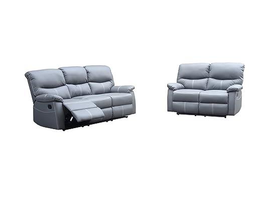 Joey - Conjunto de sofás relax 3 + 2 plazas, color gris ...