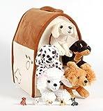 "Unipak 12"" Plush Dog House Carrying Case with Five (5) Stuffed Animal Dogs (Dalmatian, Yellow Labrador Retriever, Rottweiler, Poodle, and Cocker Spaniel) + Free Bonus Five Mini Puppy Figures"
