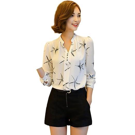 0c958c1b8f7e8 Hengzhi Women's Sweat Thin v Neck Chiffon Cute Shirts Button up Blouses  Fall at Amazon Women's Clothing store: