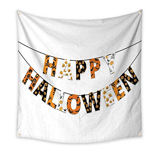 Halloween Funny Tapestry Happy Halloween Banner Greetings Pumpkins Skull Cross Bones Bats Pennant Quote Tapestry Orange Black White 47W x 47L Inch