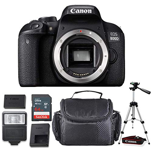 Canon EOS 800D / Rebel T7i DSLR Camera (Body Only) + Professional Accessory Bundle with Sandisk 64GB Memory