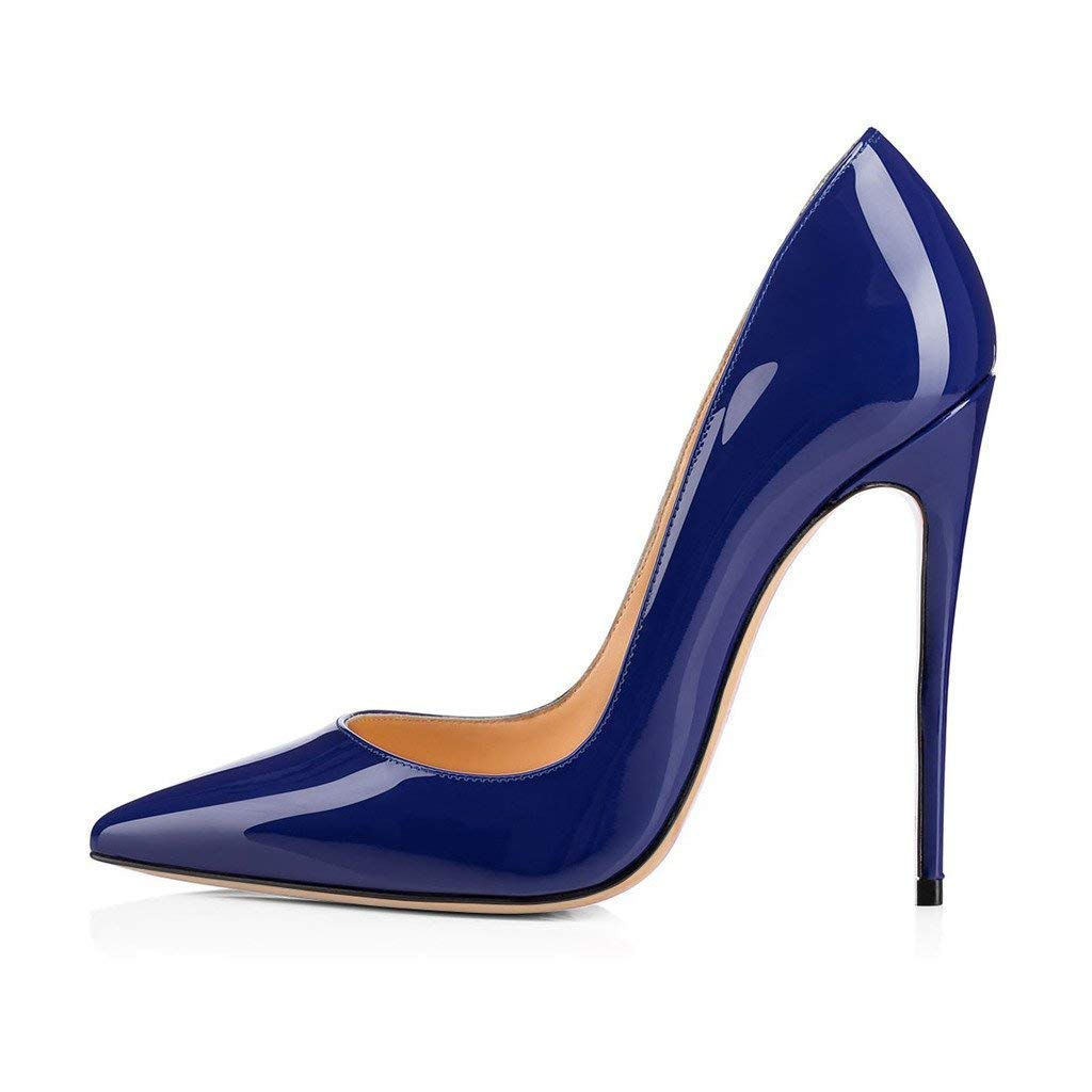 Navy bluee CAITLIN-PAN Womens 12cm High Heels Pointed Toe Slip On Stilettos Leather Party Dress Pumps Size 5-15 US