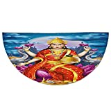 Half Round Door Mat Entrance Rug Floor Mats,Ethnic,Holy Idol Figure of Wealth on Lotus Elephants Cloudy Night Sky Big Full Moon Festive,Multicolor,Garage Entry Carpet Decor for House Patio Grass Water