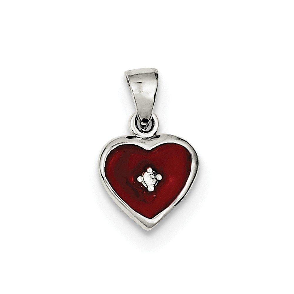925 Sterling Silver Polished Red Enameled Heart Enhancer Charming Enhancements