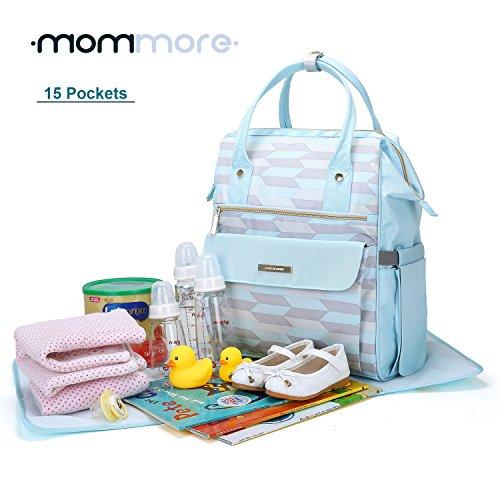 mommore Fashion mochila bolso cambiador pañales bolsa con cambiador para el cuidado del bebé negro negro azul claro