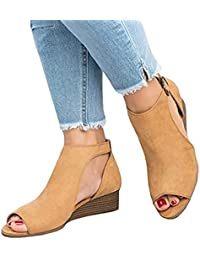 Women's Gladiator Sandal Cut Out Platform Wedge Sandals Peep Toe Suede Shoes
