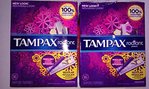 Tampax Radiant Regular Plastic Tampons, Unscented, 16 Count, Packaging May Vary
