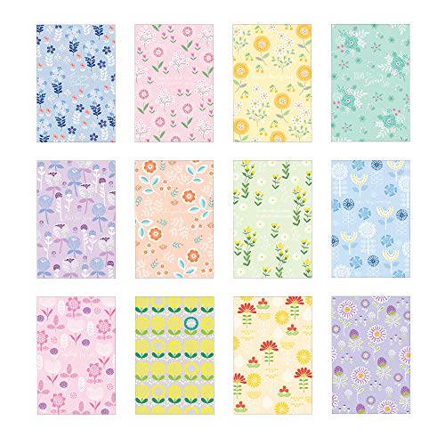 Set of 60 MAUMDAMA Assorted Postcards – Unique Designs of Flowers with Various Colors of Cards – 12 Different Designs, 5 of Each– 4 x 6 Inches – Made in Korea (Pastel Flowers)