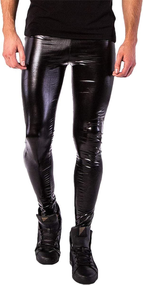 Kapow Men's Leggings Metallic Holographic Wet Look Shiny Glitter Yoga Tights Festival Meggings Lounge Pants: Clothing
