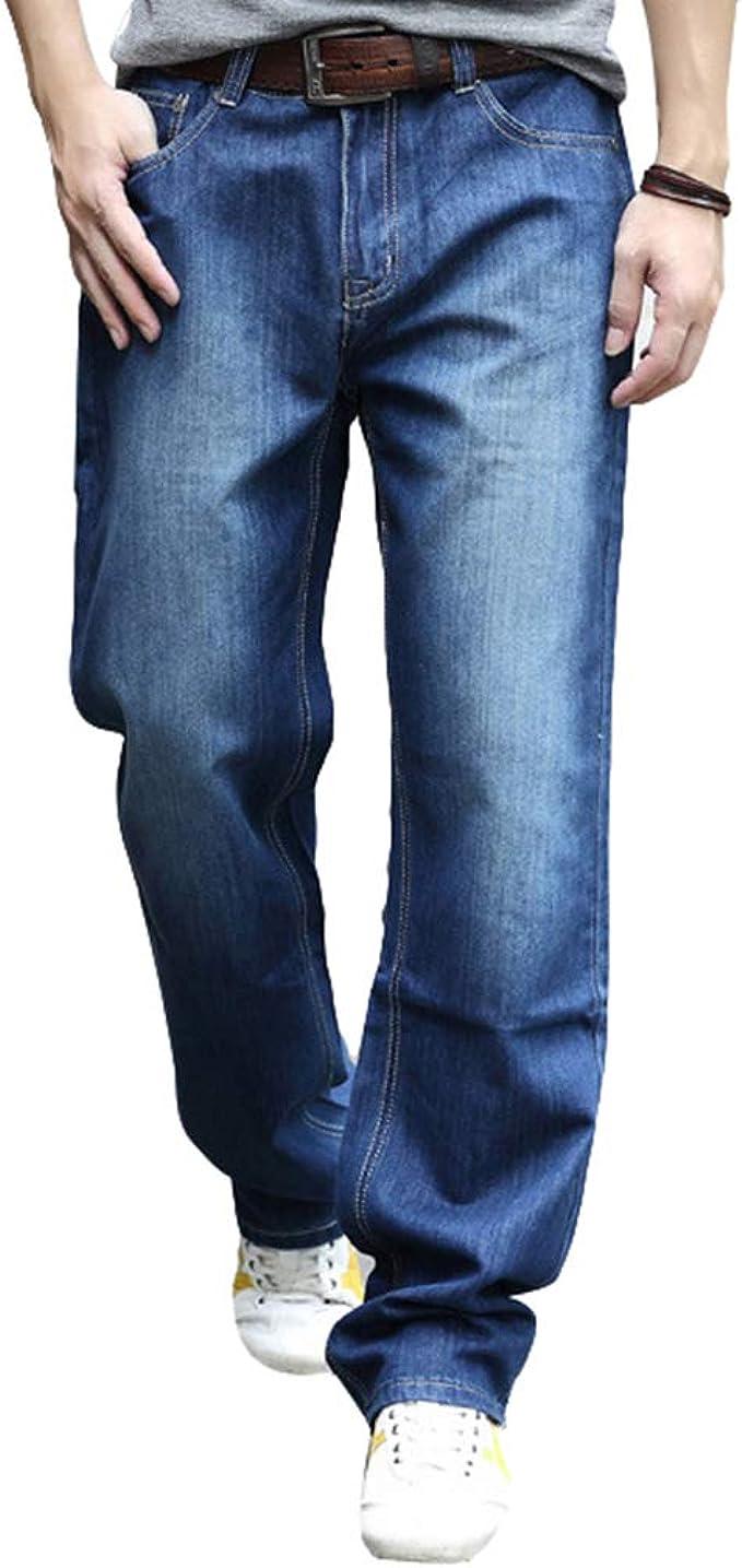 Hombres Tubo Recto Pantalones Vaqueros Tallas Grandes