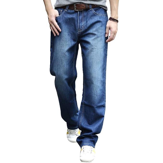 Pantalones Vaqueros para Hombre Tubo Recto Tallas Grandes ...