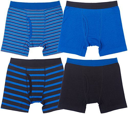 Trimfit 4-Pack Boys Boxer Briefs (Pack of 4),Blue/Black/Striped,Large / 8-10