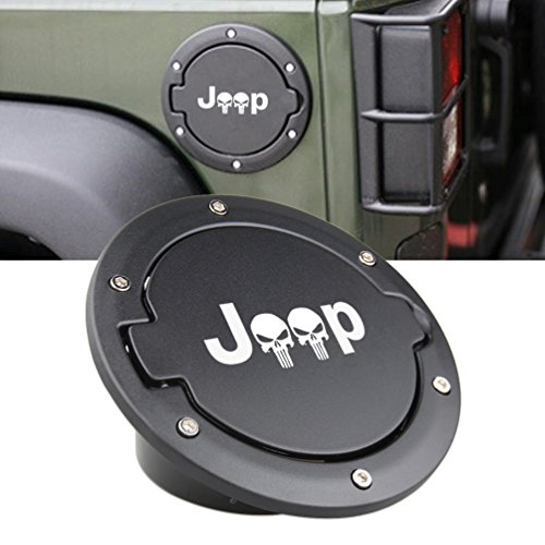 SUNPIE Fuel Filler Door Cover Gas Tank Cap for 2007-2017 Jeep Wrangler JK & Unlimited 4-Door 2-Door (Black)