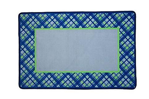 Delta Children Soft Kids Area Rug (2.5 foot x 4 foot) Boys Plaid  Blue Green (Big Circle White Fur Rug)