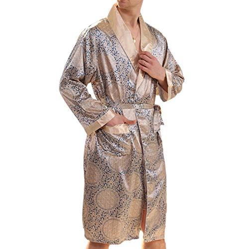 Inlefen Scialle Comfort Bagno Tasche Oro A Blu Da V Collo Notte Lunga Camicia Uomo Pantaloncini Sottile Accappatoio Lungo Morbido Leggero Manica 6Xq86wr