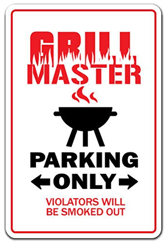 GRILL MASTER Novelty Sign Decal Sticker BBQ cookout tailgating cook dad burger hot dogs gift