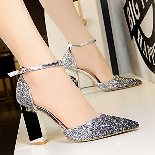 Miyoopark MiyooparkUK-DS293-3, Escarpins pour Femme - Argenté - Silver, 36.5 EU