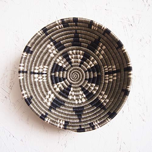 (Small African Basket- Tumba/Rwanda Basket/Woven Bowl/Sisal & Sweetgrass Basket/Taupe, Black, White)