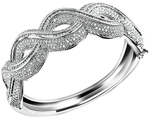 AnaZoz Femme Bracelet Mariage Noble Élégant 18K Plaqué Or Rond Twisted Design Plaqué Argent Blanc Noël valentin