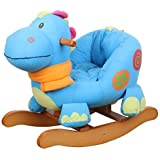 Labebe Wooden Rocking Horse for Toddler, Boy & Girl, Rocking Animal/Rocker/Ride-on Toys for 0-36 months old, High Rack Stuffed Animal Seat, Indoor&Outdoor Toy, Creative Birthday Gift - Blue Dinosaur