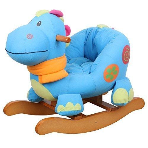 Labebe Child Rocking Horse Toy, Stuffed Animal Rocker Toy, Blue Dinosaur Rocker for Kid 1-3 Years, Wooden Rocking Horse Chair/Outdoor Rocking Horse/Rocker/Animal Ride/Child Rocking Toy/Dragon Rocker by labebe