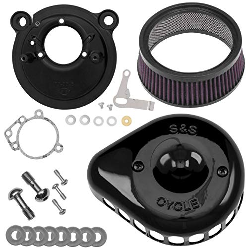 - S&S Cycle Mini Teardrop Stealth Air Cleaner Kit Compatible for Harley-Davidson Sportster 1200 Custom XLH1200C 2003 - Gloss Black