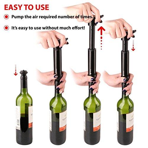 Wine Vacuum Bottle Preserver Saver - for Wine Preservation - Best Wine Sealer Kit - with 3 Vacuum Re-usable Wine Stoppers - Black by RedNoel (Image #4)