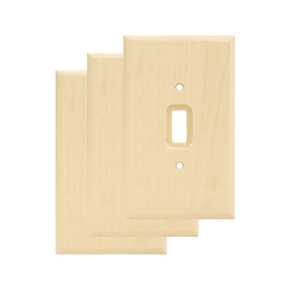 Franklin Brass W10393V-UN-C Wood Square Single Toggle Switch Wall Plate / Switch Plate / Cover, Unfinished, 3-Pack