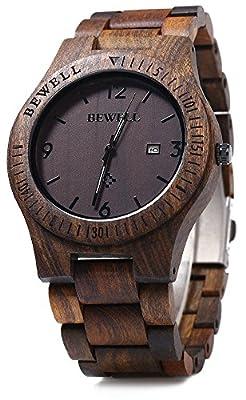 Bewell ZS-W086B Mens Wooden Watch Lightweight Date Display Analog Quartz Movement Wristwatches