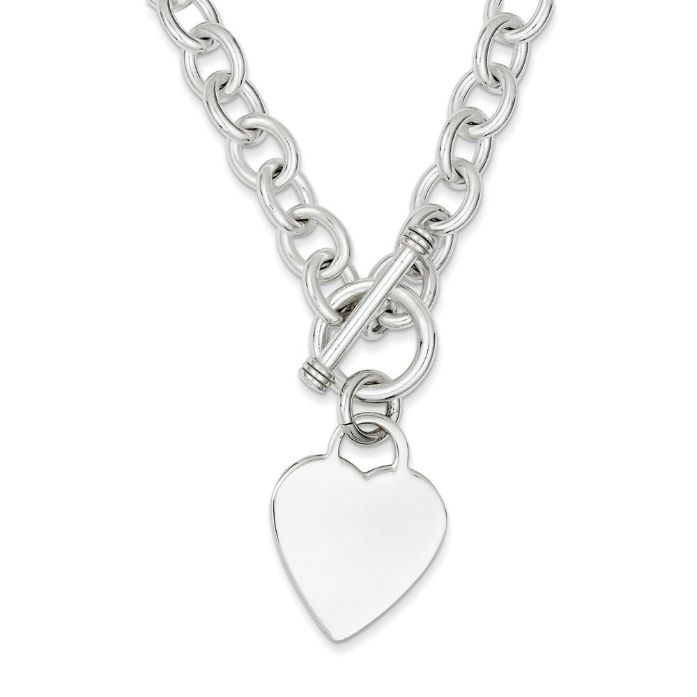 Sterling Silver Heart Fancy Link Toggle Necklace