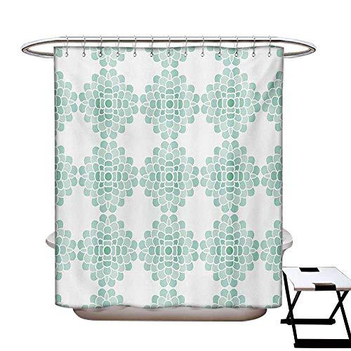 Floral Shower Curtains Digital Printing Abstract Horizontal Lines Geometric Bold Thin Stripes Ocean Themed Illustration Satin Fabric Bathroom Washable W72 x L72 Seafoam White