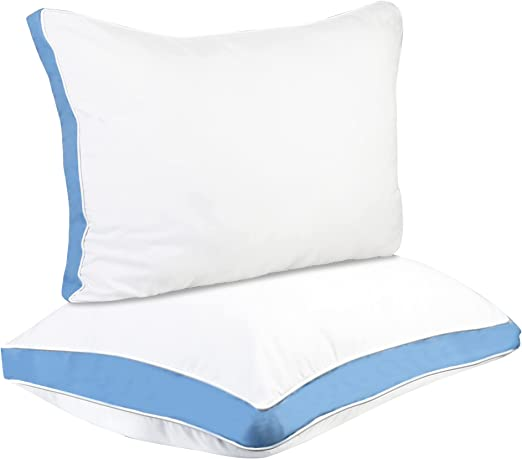 Zuci Gusseted Pillow Pack of 2 - Premium Bed Pillows for Sleeping Queen Size - Hypoallergenic Side Back Sleepers - Down Alternative Fluffy and Soft Pillow - Blue Gusset - 18 x 26 inch