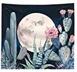 Aucheer Cactus Tapestry, Moon and Cactus landscape Wall Tapestry Wall Hangings for Bedroom Living Room Dorm Apartment Home Decor (59 X 51 inches)