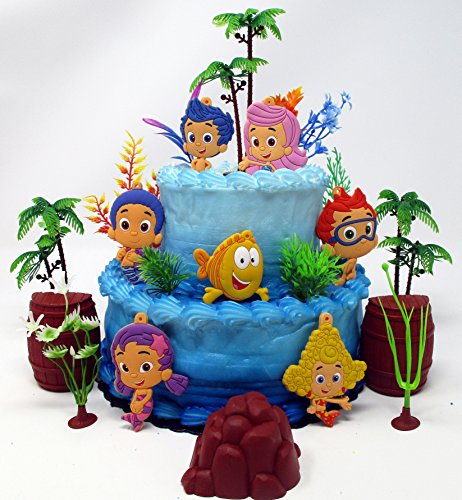Bubble Guppie Party (BUBBLE GUPPIES Deluxe Birthday Cake Topper Set Featuring Bubble Guppies Characters and Decorative Themed)