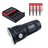 ThruNite TN36 Limited Version 11000 Lumen CREE XHP 70B LED Powerful Floody Flashlight, with 4 x ThruNite IMR 18650 3100mAh Batteries and ThruNite Universal Battery Charger MCC-4S Included Cool White