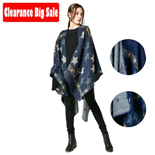 Poncho Capes,Jelinda Ladise Winter Knitted Star Color Shawl Poncho Cape (Navy Blue) (Star Cape)