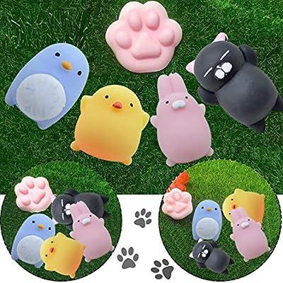 Wenjuan Cute Mochi Squishy Cat Healing Kawaii Stress Reliever Decor Pinch Squeeze Strap Kids Toy Gift Jumbo Collection (Yellow): Toys & Games