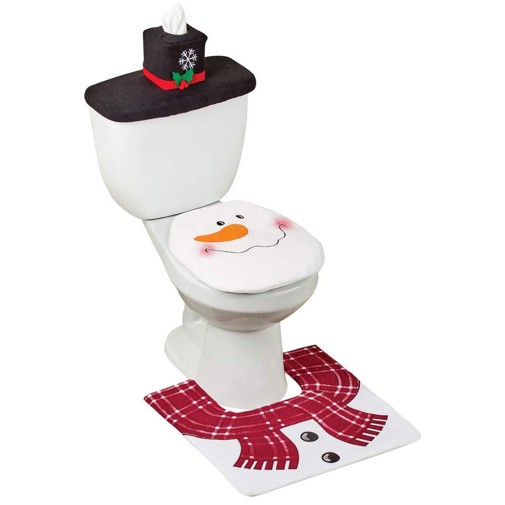 Collections Etc Festive Snowman Commode Bath Set - 4 Piece Winston Brands